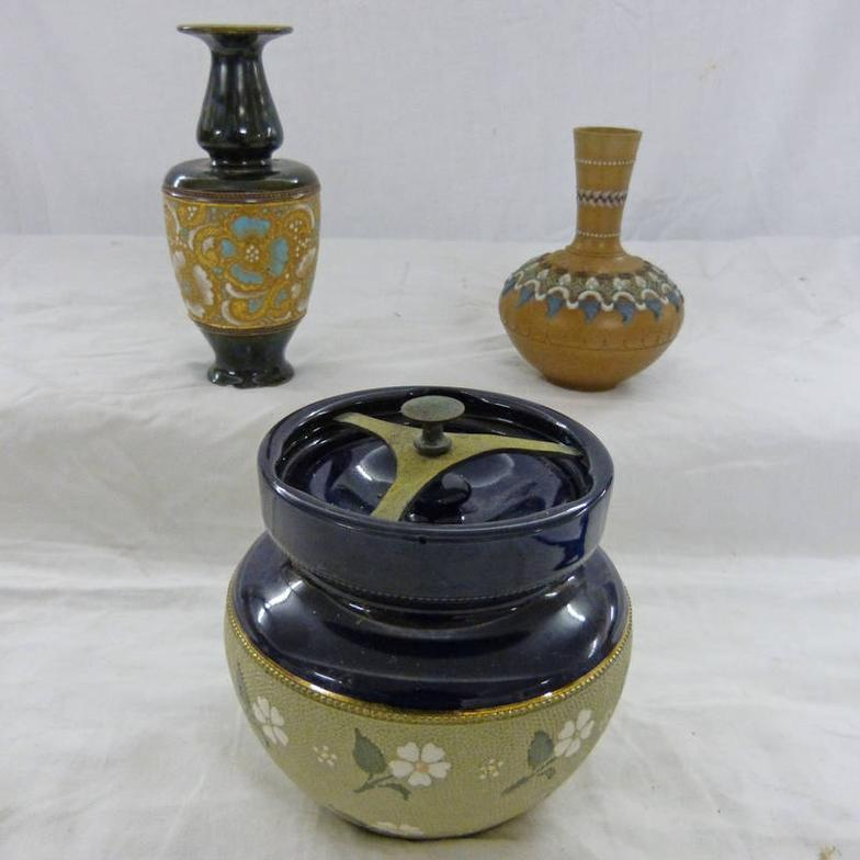 Taylors Auctions 2 Royal Doulton Vases And A Pottery Tobacco Jar