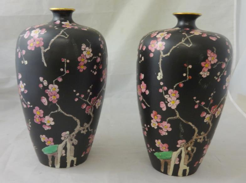 Kent Auction Galleries Ltd Pair Wilkinson Ltd Bottle Vases Black