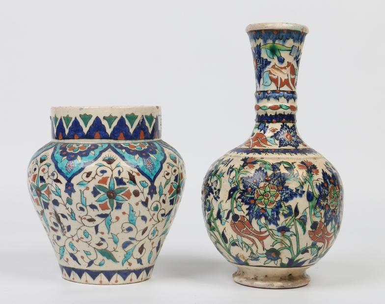 Paul Beighton Two Antique Iznik Pottery Vases One High Shouldered