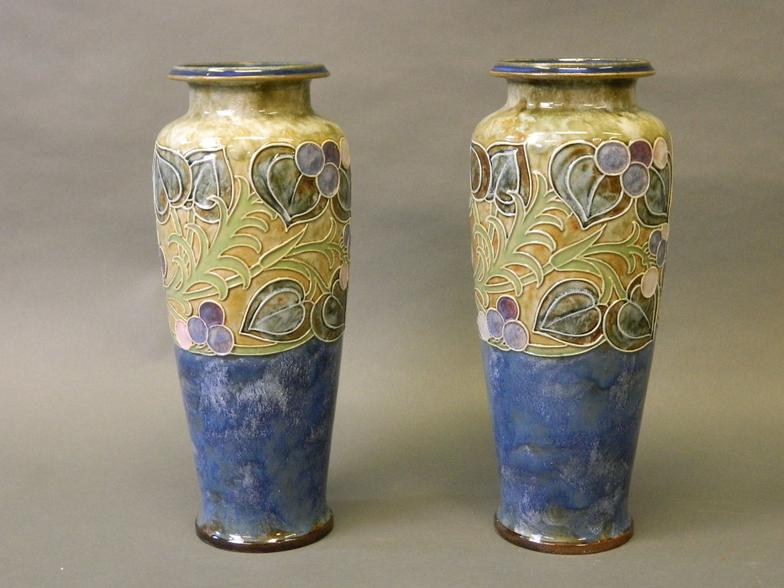 Crows Auction Gallery A Large Pair Of Royal Doulton Vases With