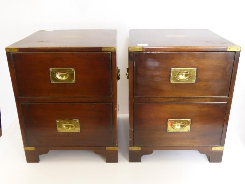 British Bespoke Auctions : Two Bedside Cabinets, In The Style Of Campaign  Furniture : Online Auction Catalogue