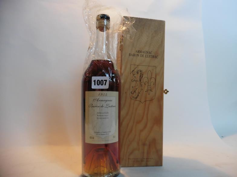 A Bottle Of Baron De Lustrac Armagnac Vintage 1954 With Own Wooden Box Note Wax Seal Damaged But Appears