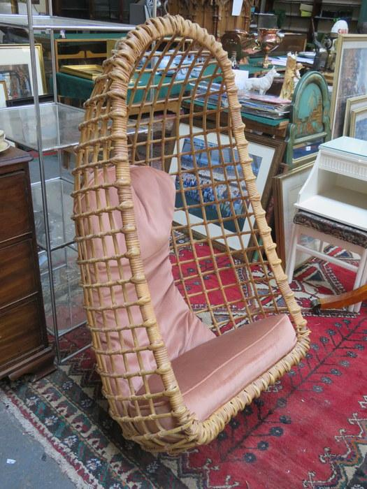 Cato Crane Auctioneers : 1960s BAMBOO AND WICKER HANGING EGG BASKET CHAIR :  Online Auction Catalogue