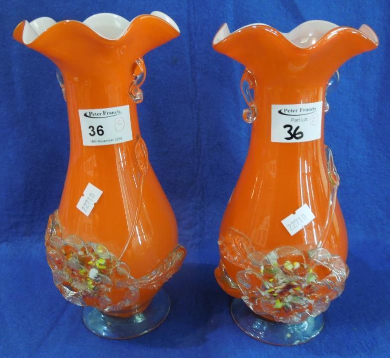 Peter Francis Pair Of Fringe Overlay Glass Baluster Shaped Vases