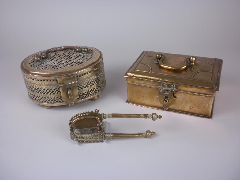 Brightwells Two Indian Brass Pan Boxes And A Betel Nut Cutter