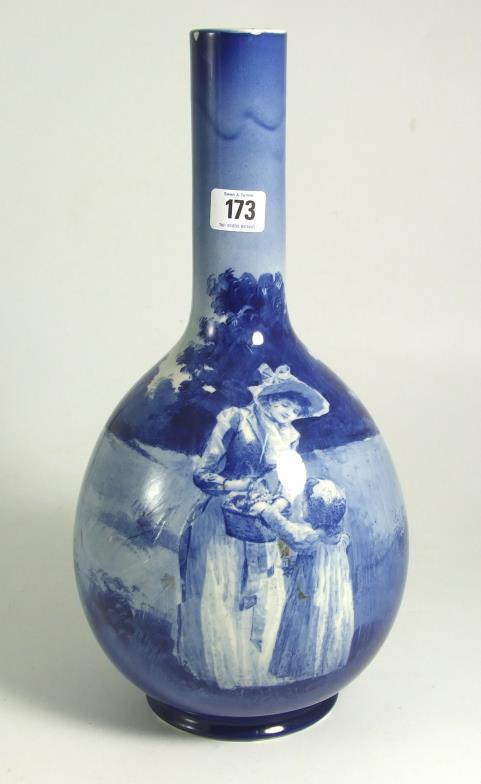 Swan Turner Royal Doulton Blue Flambe Vase With Pastural Scene