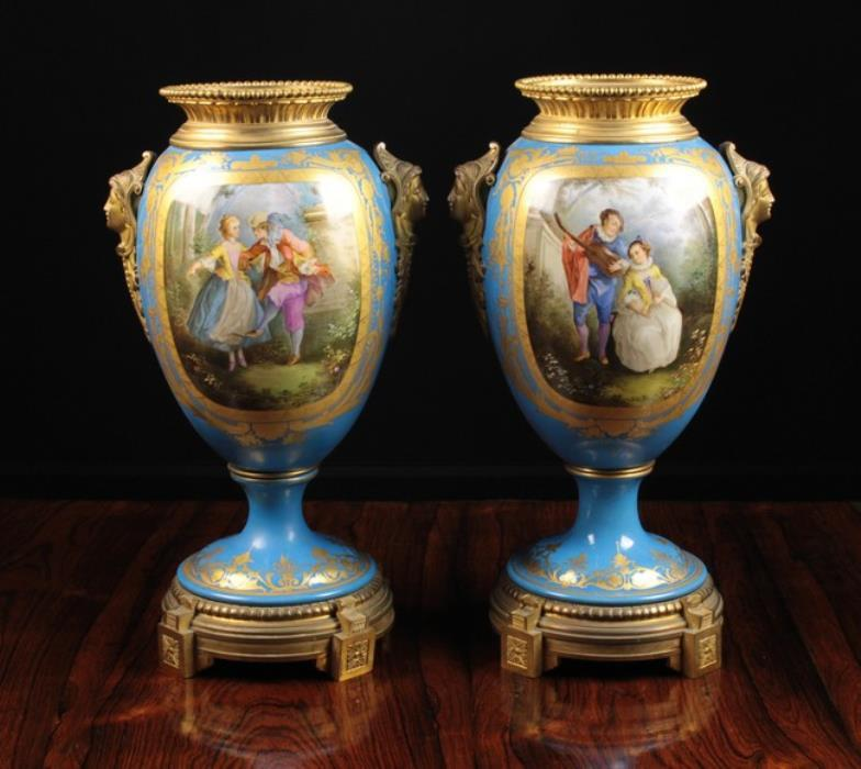 Wilkinsons Auctioneers A Pair Of 19th Century Svres Pedestal