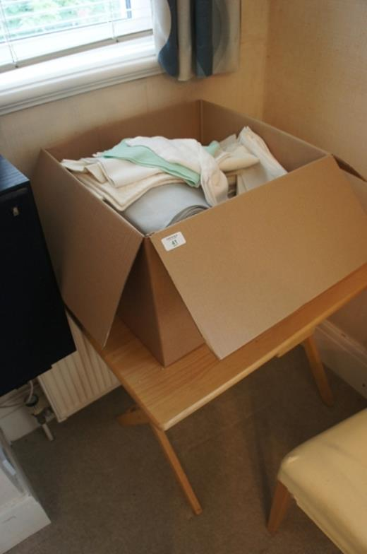 chrystals auctions large box of table ware etc plus folding