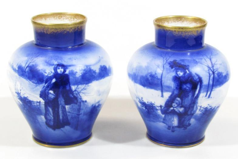 Golding Young Mawer Grantham A Pair Of Royal Doulton Vases Each