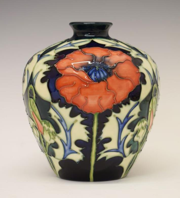 Clevedon Salerooms Modern Moorcroft Poppy Vase 165cm High