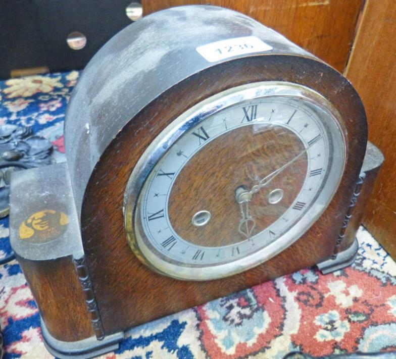 OAK CASED MANTLE CLOCK WITH LEPRA FIGHTS LEPROSY INSERT
