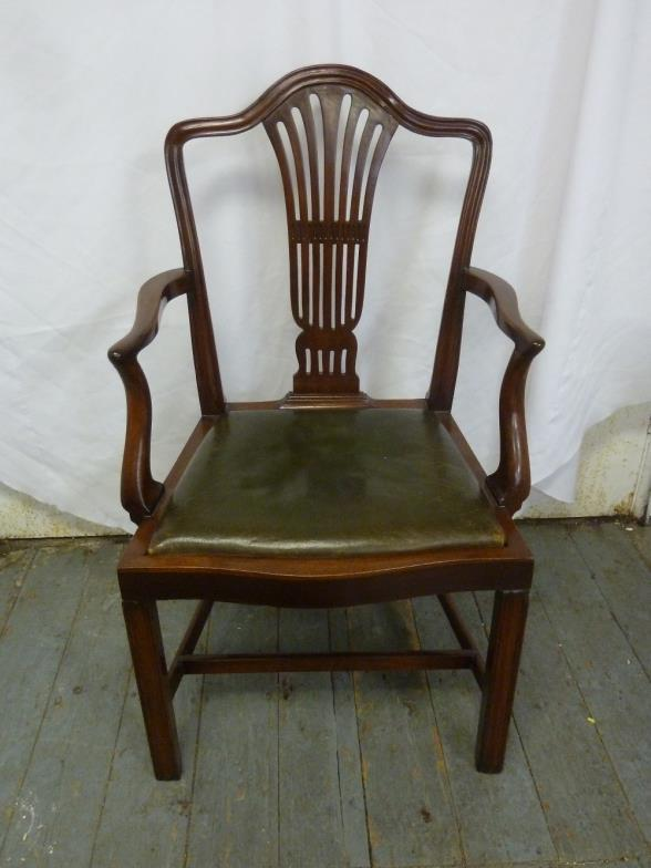 Bushey Auctions : A Late Victorian Mahogany Occasional Chair With Leather :  Online Auction Catalogue