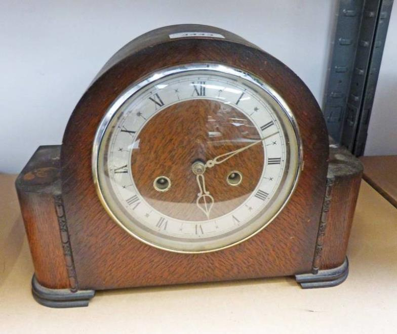 Taylors Auctions OAK CASED MANTLE CLOCK WITH LEPRA FIGHTS LEPROSY Online Auction Catalogue