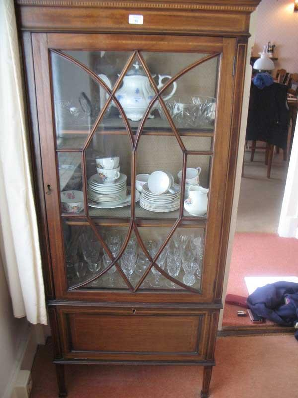 Chrystals Auctions Inlaid Mahogany Display Cabinet With Glass