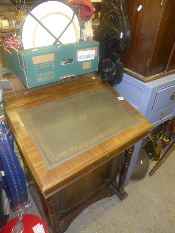 Bainbridges A Reproduction Mahogany Davenport Desk With Green