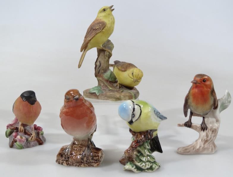 Various bird ornaments, comprising Beswick blue tit 992, 8cm high, robin  980, Goebel robin, Royal Worcester