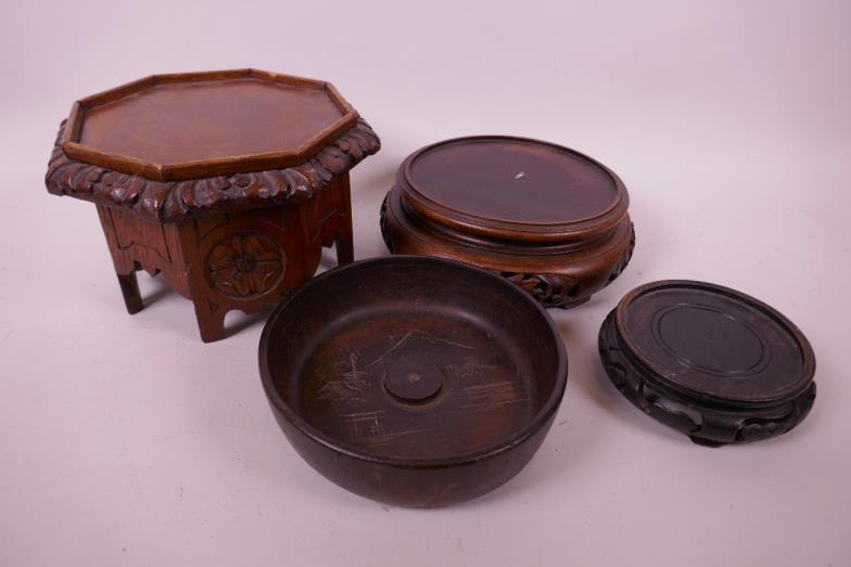 Crows Auction Gallery Three Chinese Wooden Vase Stands And A