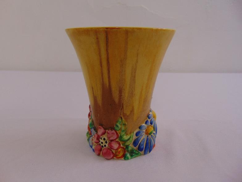 Bushey Auctions A Clarice Cliff My Garden Yellow Vase With Floral