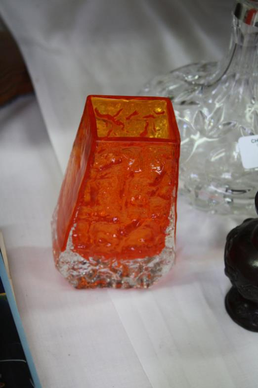 Chrystals Auctions Orange Glass Coffin Shaped Whitefriars Vase Ht