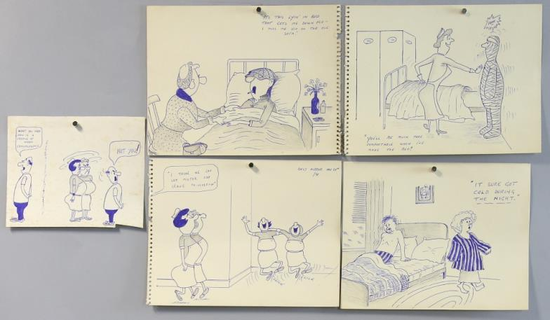 ewbank s andy capp four original pen drawings one dated