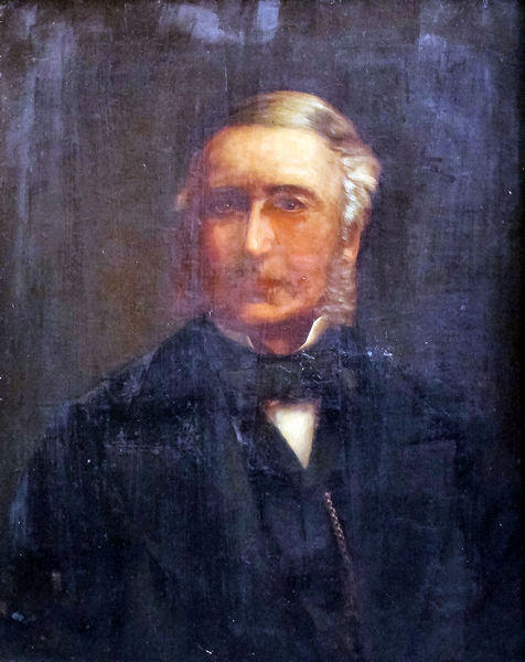 d21722cfae6e 19th Century English School - Oil painting - Shoulder length portrait of a gentleman  wearing a bow tie,