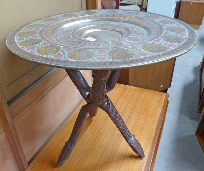 Taylors Auctions : EASTERN BRASS TRAY TOPPED FOLDING TABLE