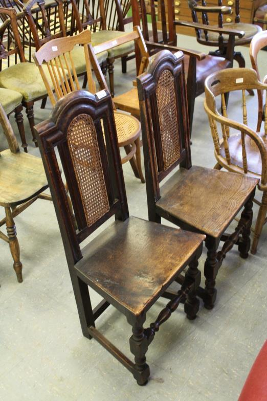 penrith farmers kidd s pair of cane backed oak hall chairs