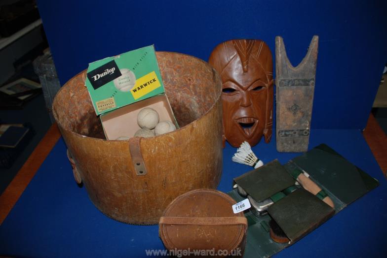 Nigel Ward Co Sale 1 A Bentwood Hat Box No Lid Wooden Mask