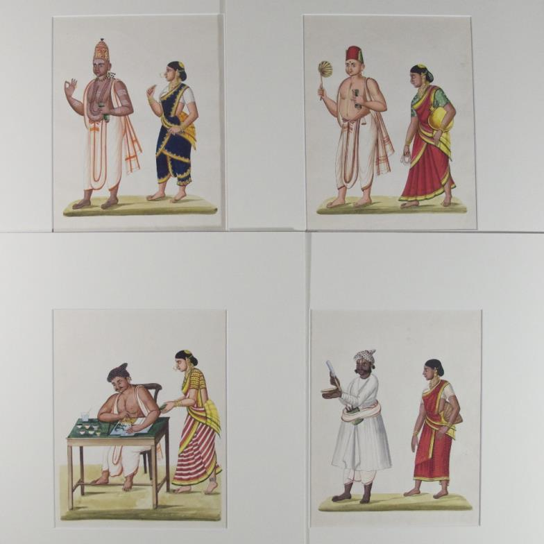 Four antique illustrations of Indian couples, , comprising a barber and his wife, a painter and his wife and two priests with their wives, mounted separately