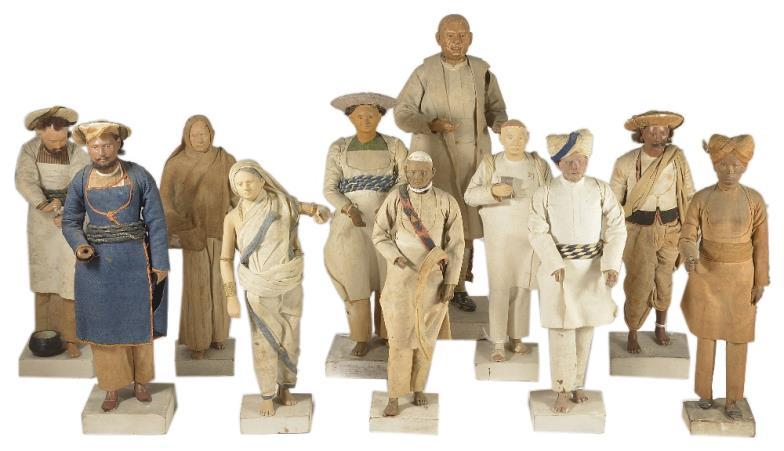 Eleven antique clay figures of Indian characters, 19th Century, Indian antiques