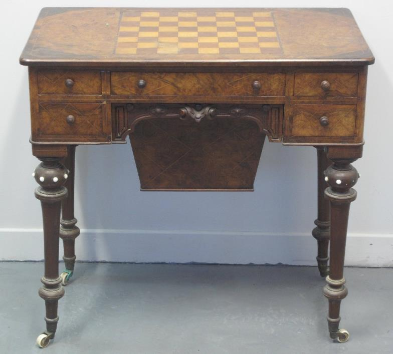 Victorian walnut games and sewing table
