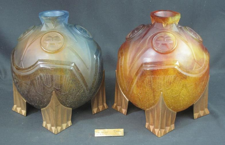 Pair of modern Daum French 'Salambo' vases: 'Night' and 'Day' in moulded thick heavy glass