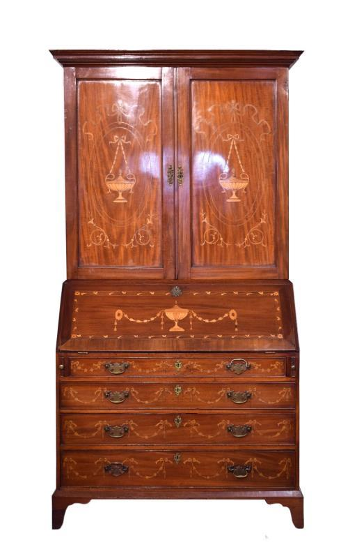 George III inlaid mahogany two section bureau bookcase