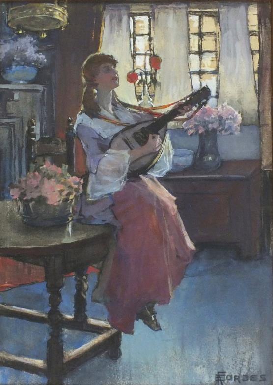 <i>Elizabeth Adela Forbes (1859-1912), Watercolour, gouache over black chalk</i>