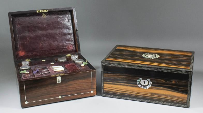 Victorian coromandel wood rectangular writing box inlaid with mother-of-pearl and a Victorian rosewood rectangular toilet box with fitted interior