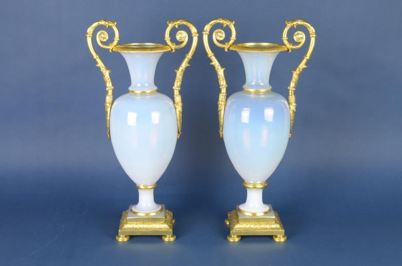 <i>Fine pair of opalescent glass Vases of baluster shape</i>