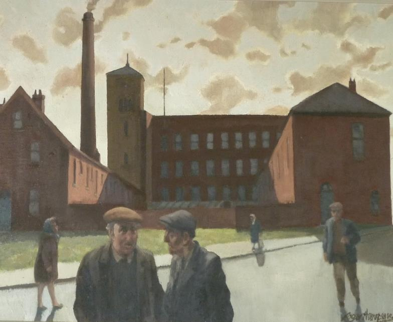 <i>Roger Hampson (1925-1996) Oil Painting on Board 'Gilnow Mill, Bolton'.</i>