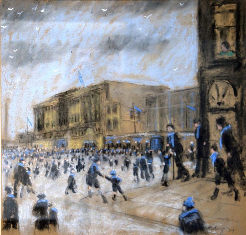 <i>Harold Riley (b.1934) mixed media 'Maine Road Football Stadium - The Home of Manchester City'</i>