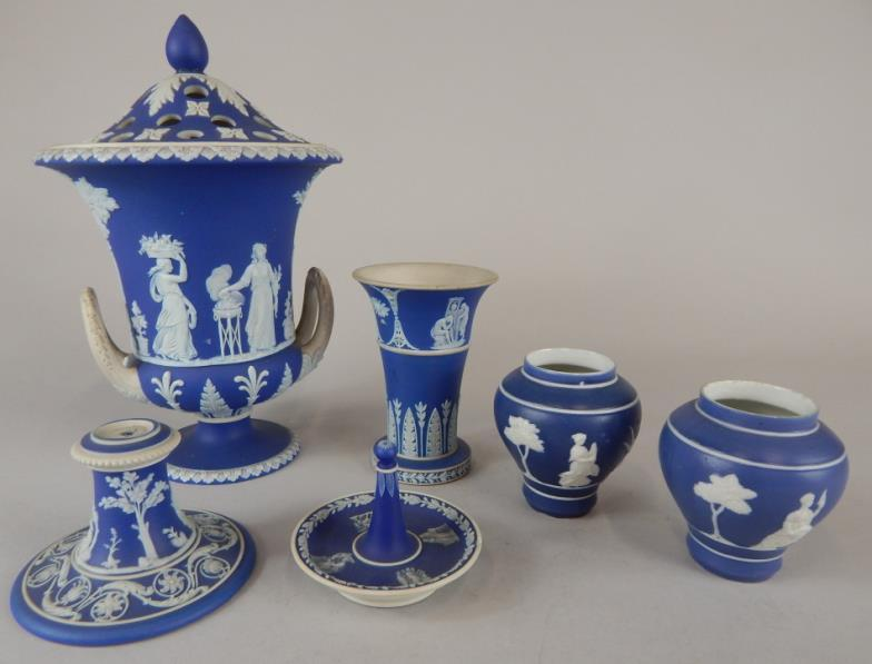 <i>A Wedgwood blue Jasperware urn shaped pot pourri and other similar items</i>