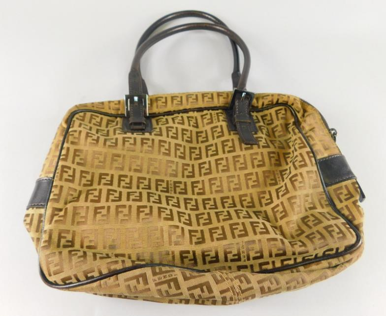 ... young mawer lincoln a ladies fendi canvas and leather bag. online  auction catalogue official store fendi picasso face beach tote bag totes  504974159 ... bac0e345cf361