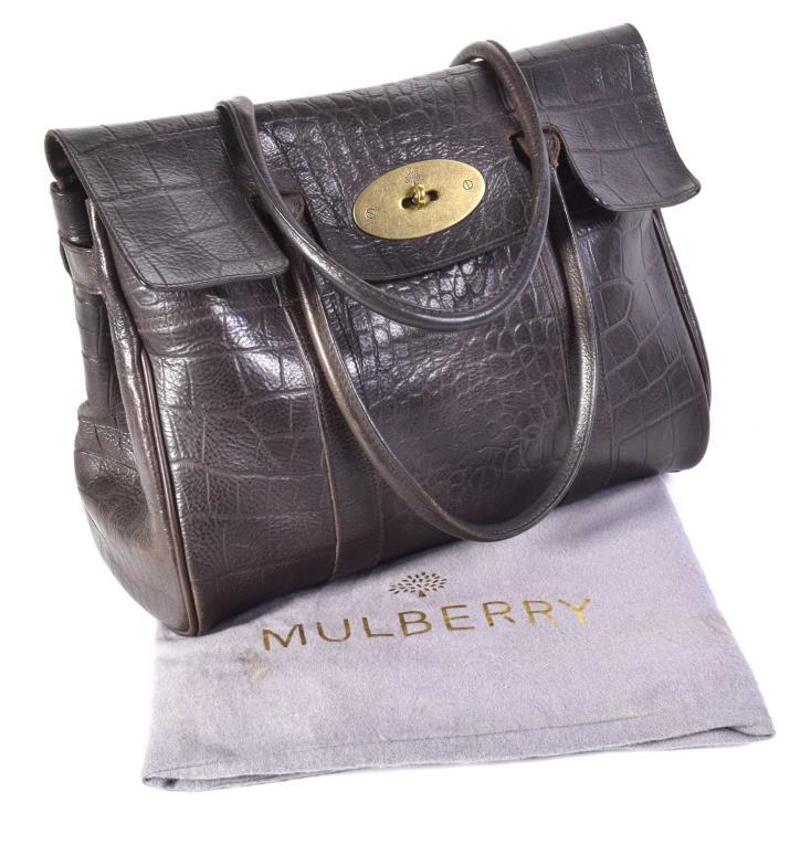 A Mulberry  Bayswater  crocodile print handbag The chocolate brown embossed  leather fold over bag with afbf035aa5a85