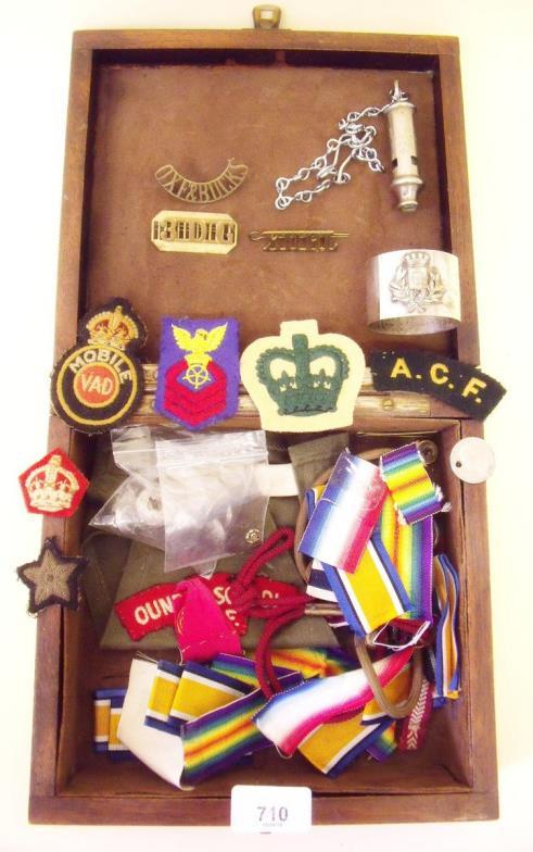 Smiths of Newent : A wooden box of military badges, medals