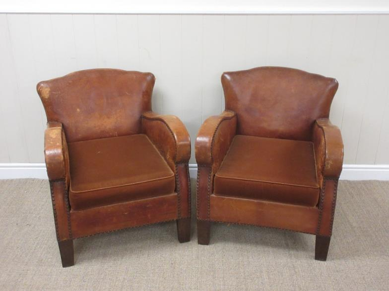 Brightwells A Pair Of Small Easy Chairs With Brown Leather
