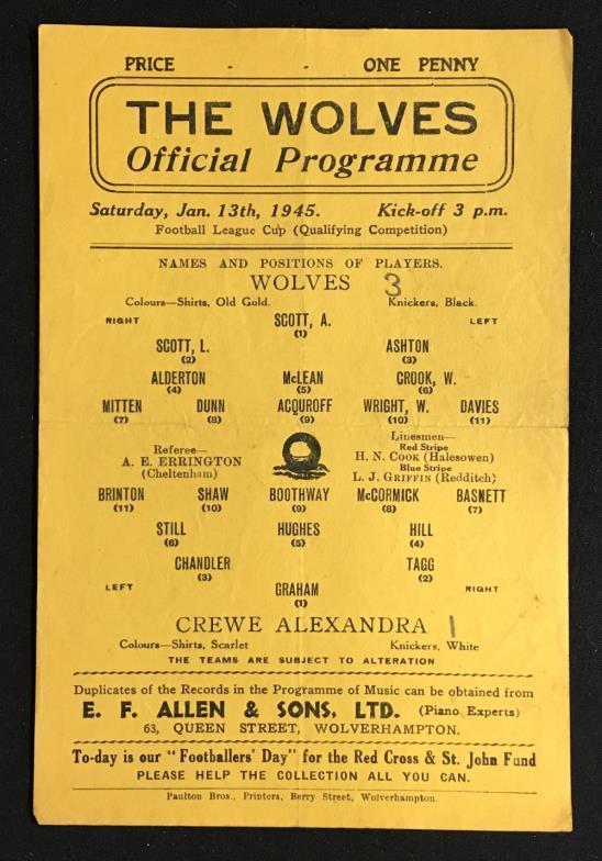 Mullock's Specialist Auctioneers : 1944/45 Wolverhampton