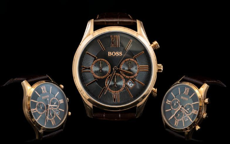b143395e9df36 Hugo Boss Very Stylish Men s Ambassador Watch 1513198. Features rose gold  tone PVD Stainless Steel case