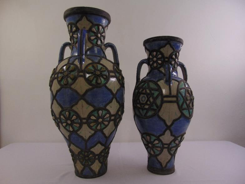 Bushey Auctions Two North African Ceramic Floor Vases Overlaid