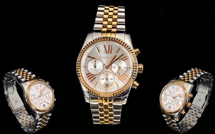 9de343ba9d11 Michael Kors MK5735 Ladies Lexington Tri-tone Rose Gold Chronograph Watch.  Features Date Window