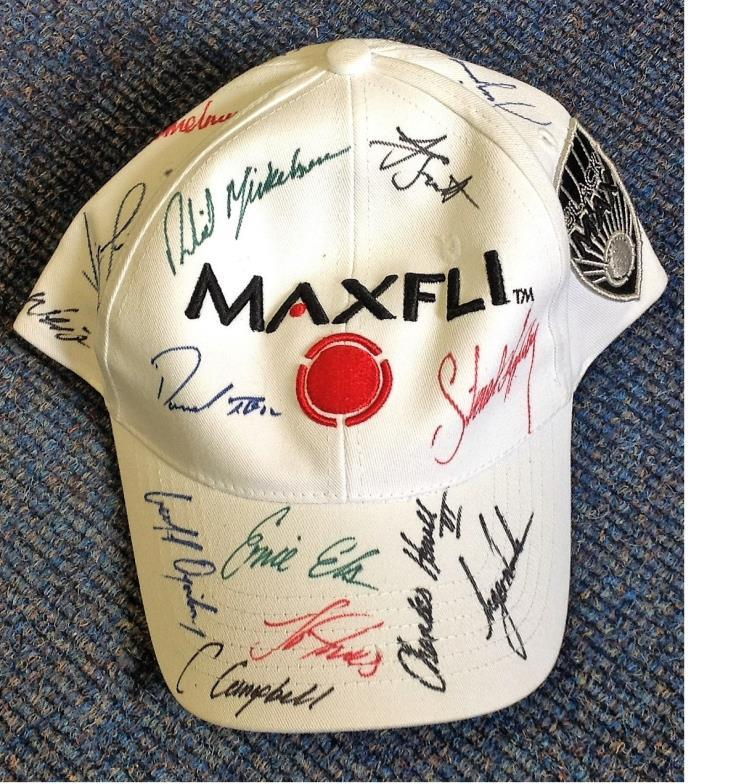 38cc339d585 Chaucer Auctions   GOLF Maxfli Golf Hat multi signed by Tiger Woods ...